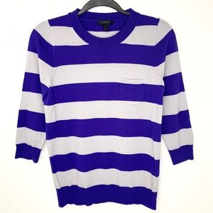 J. Crew Tippi Sweater Purple/Gray Stripe